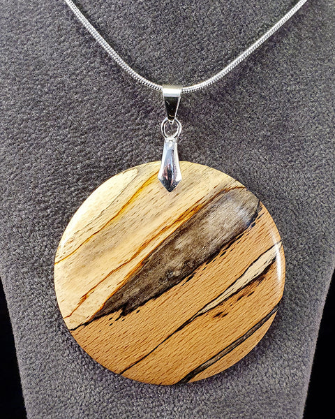 Pendant necklace (spalted beech) - Woodsmithery - WoodsmitheryShop