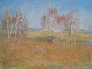 Oil painting by Suzanne Baker - Bracken and Blue Skies - Nice Things Ramsgate