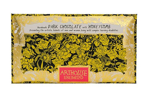 Bee Free dark chocolate with honeycomb handmade by Arthouse Unlimited