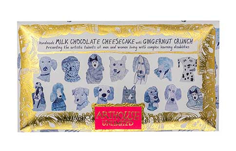 Blue Dogs milk chocolate with cheesecake and ginger handmade by Arthouse Unlimited