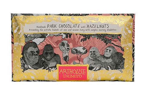 Gorillas dark chocolate with hazelnuts handmade by Arthouse Unlimited