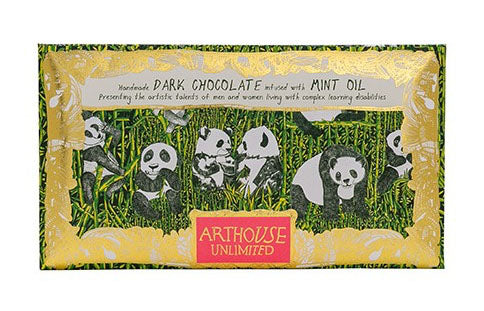 Panda Party dark chocolate with mint handmade by Arthouse Unlimited
