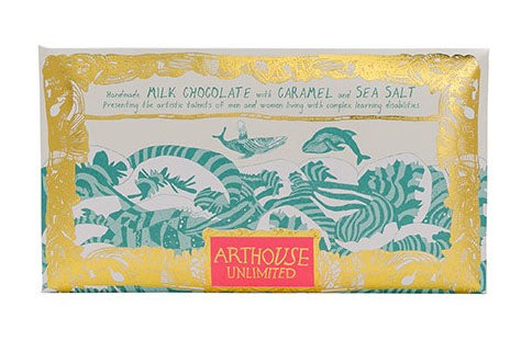 Whales milk chocolate with caramel and sea salt handmade by Arthouse Unlimited