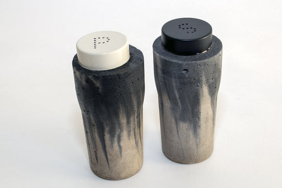 SEVILLE Concrete contemporary salt and pepper shakers by Carlos Dominguez