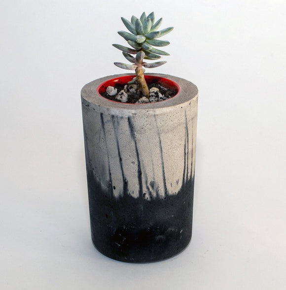 PISA concrete contemporary grey and black planter by Carlos Dominguez