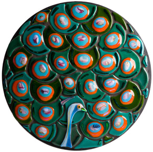 Mosaic picture by Martin Cheek - Christmas Bauble Peacock