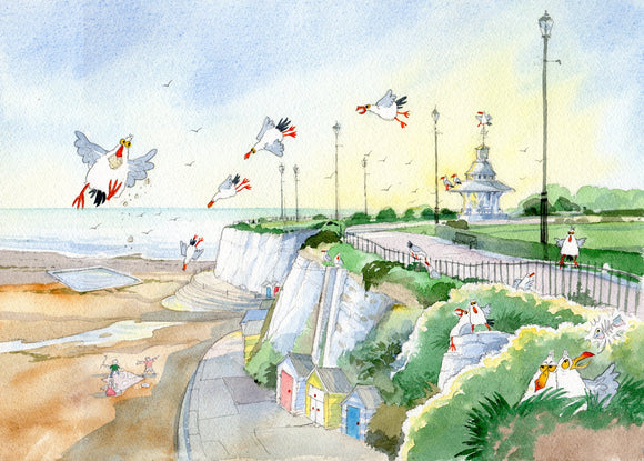 Original print by David Bailey : Broadstairs Bandstand Cliff