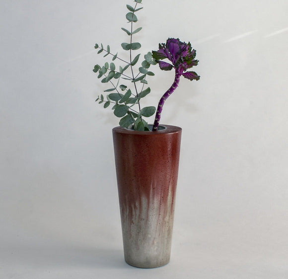 NANTES concrete contemporary grey and black planter by Carlos Dominguez