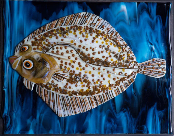 Glass fusion picture by Martin Cheek - Herbert the Turbot