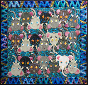 Mosaic picture by Martin Cheek - A Herd of Elephants