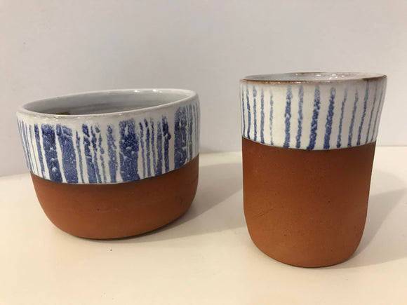Shoreline Ceramics blue and white earthenware beaker and bowl