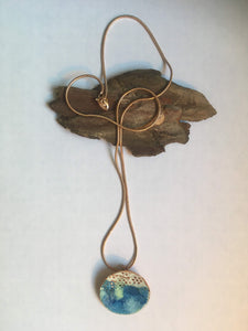 Enamel and copper handmade pendant necklace