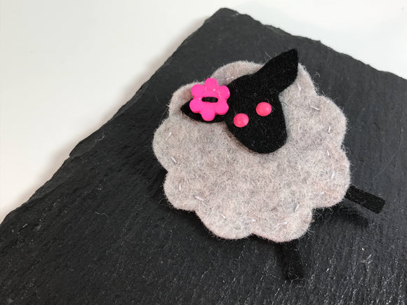 All Things Creative woolly sheep felt brooch