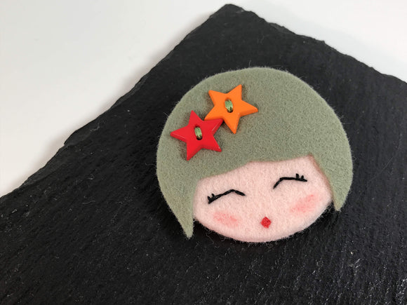 All Things Creative cheerful face felt brooch - Nice Things Ramsgate