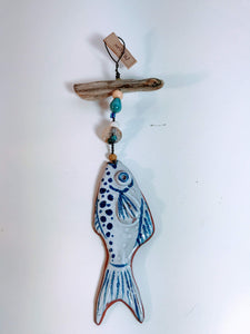 Shoreline Ceramics medium fish wall hanger with driftwood
