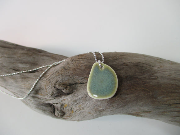 Pebble green porcelain pendant necklace Katy Mai Coast Range