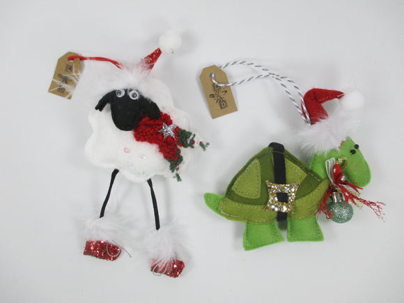 Christmas tree hanging Sheep and Tortoise in felt by Laura Dent - Nice Things Ramsgate
