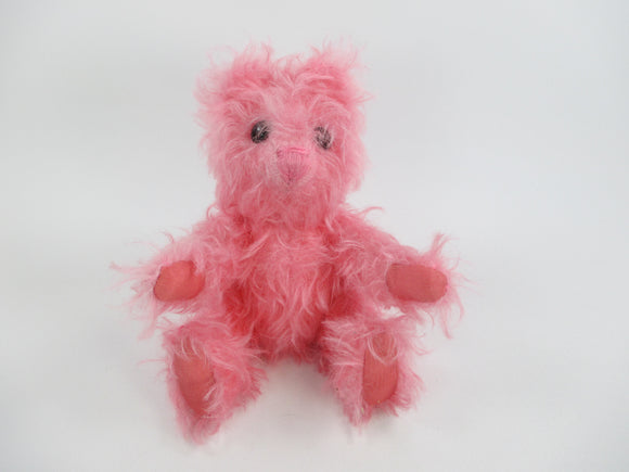100% mohair teddy bear bright pink fully jointed handmade Hotbot Bears