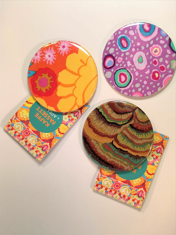 Round handbag mirror with Kaffe Fassett designed pattern