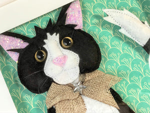Personalised felt 3D picture of a cat by Laura Dent