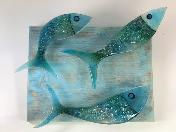Freddo Verre decorative glass fish on wooden panel - Nice Things Ramsgate