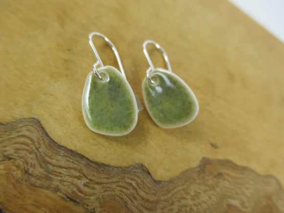 Olive green porcelain earrings Katy Mai Coast Range