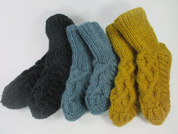 Hand knitted lined wool thick slipper socks by Aura Que