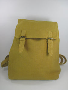 Cotton weave fabric backpack in mustard by Aura Que