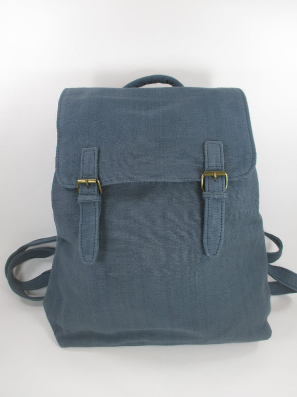 Cotton weave fabric backpack in slate blue by Aura Que