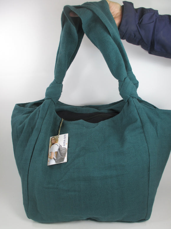 Cotton weave large soft shoulder bag in teal green