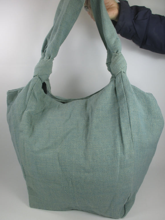 Cotton weave large soft shoulder bag in mint green