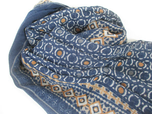 Large fine wool scarf wrap with a dark blue and orange contemporary pattern