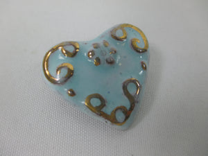 Ceramic retro pink or blue heart brooches, with 1970s elements