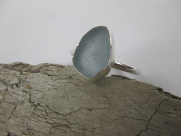 Handmade silver ring with pale blue seaglass by Kent Beach Silver