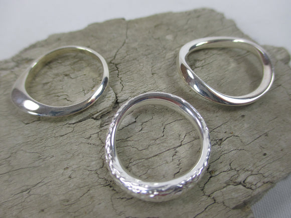 Sterling silver rings with natural organic shapes