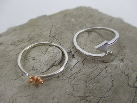 Sterling silver cupid and blossom rings, open for easy fitting