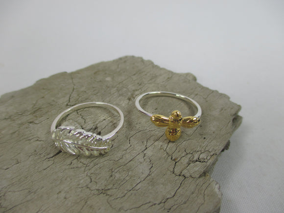 Sterling silver feather and bumble bee rings with 18ct gold vermeil