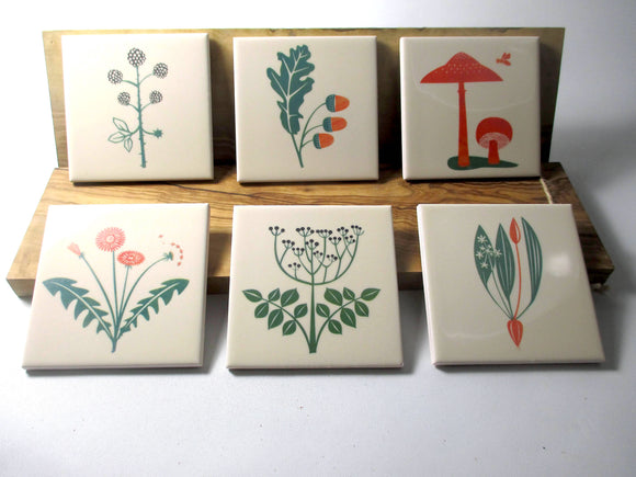 'Foraging' contemporary tiles/coasters by Alison Milner