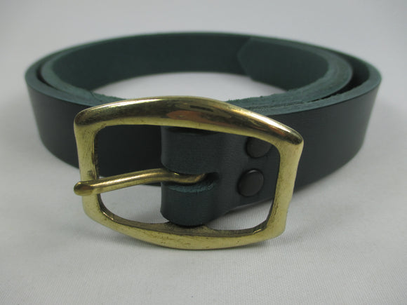 Handmade plain leather narrow belt - green