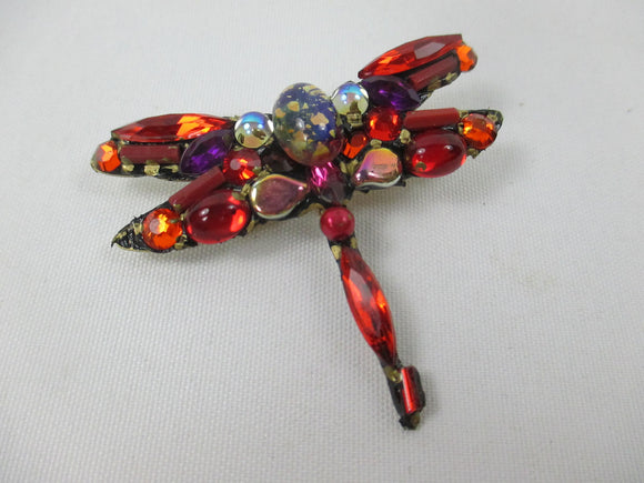 Red dragonfly jewelled brooch by Annie Sherburne