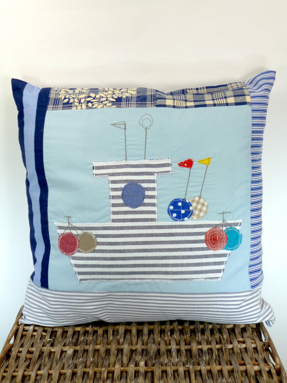 Sarah at Sea appliqué blue cushion with boat