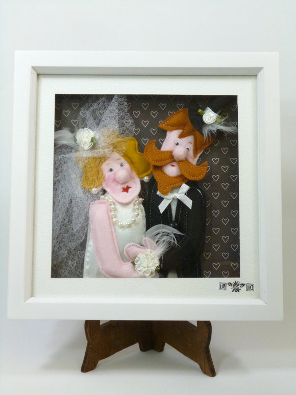 Personalised handmade picture 'Wedding Couple' in 3D felt