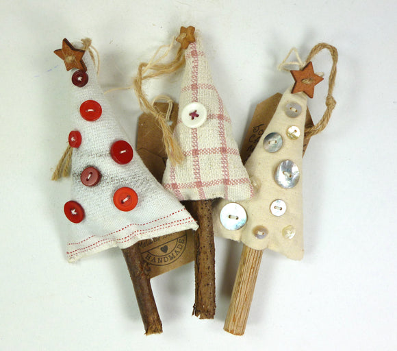 Scandi styled hanging decoration in upcycled fabric by Melanie Bernor