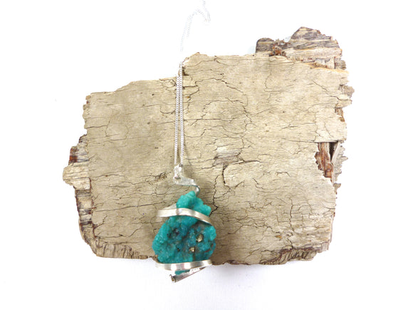 Ella Wood hammered 'eco' silver coil with raw turquoise stone pendant
