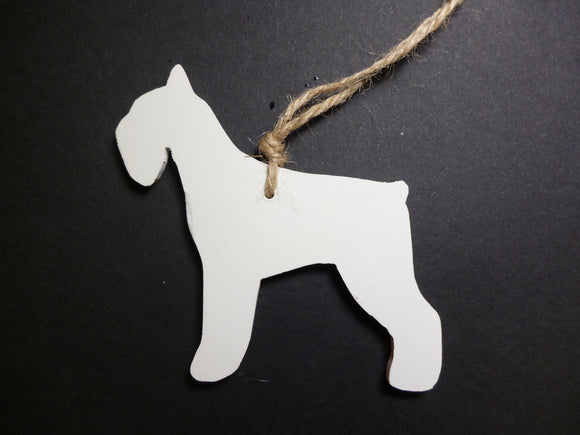 Schnauzer dog white clay hanging ornament  by Kate Goldsmith