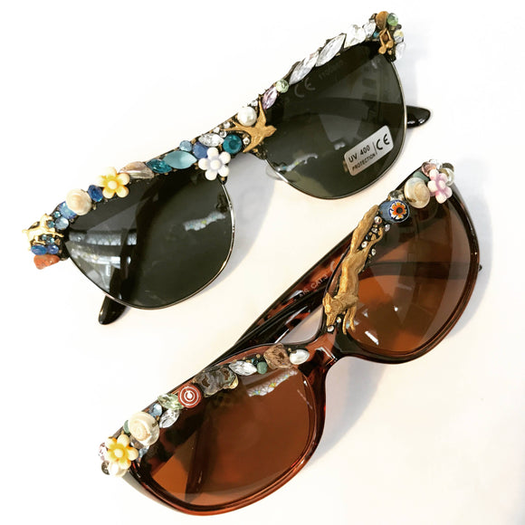 Glasses vintage sunglasses with gem decoration by Annie Sherburne