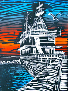 Robert Onion linocut 'East Pier Sunset'