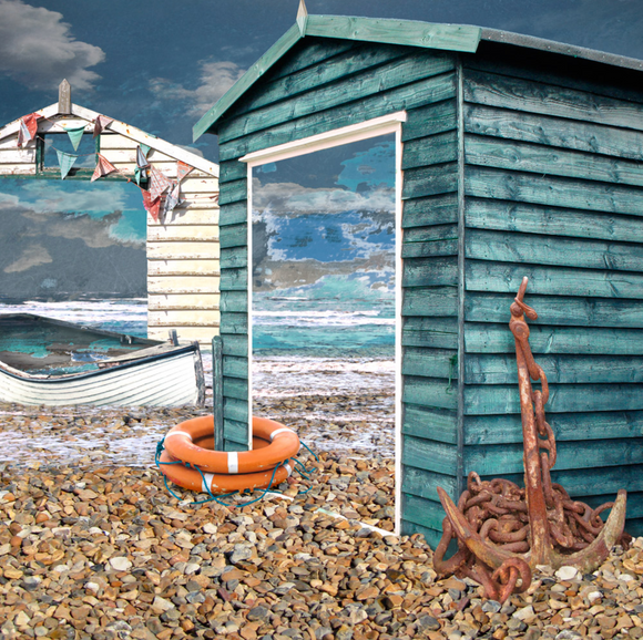 Claire Gill cards - Seascape 39 - Beach Hut