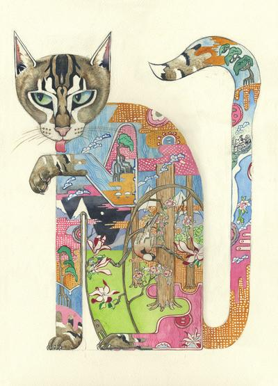 Cat Licking its Paw greeting card by DM Collection