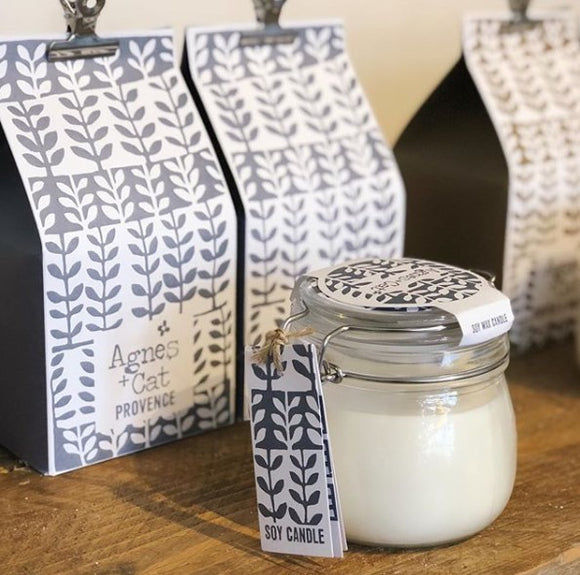 Agnes & Cat 'Provence' soy candle in a Kilner jar with two sizes to enjoy